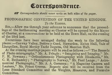 Announcement of FG at Chester Convention BJP p382 June 13 1890