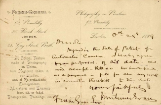 Letter from Mortimer Evans granting patent rights to FG