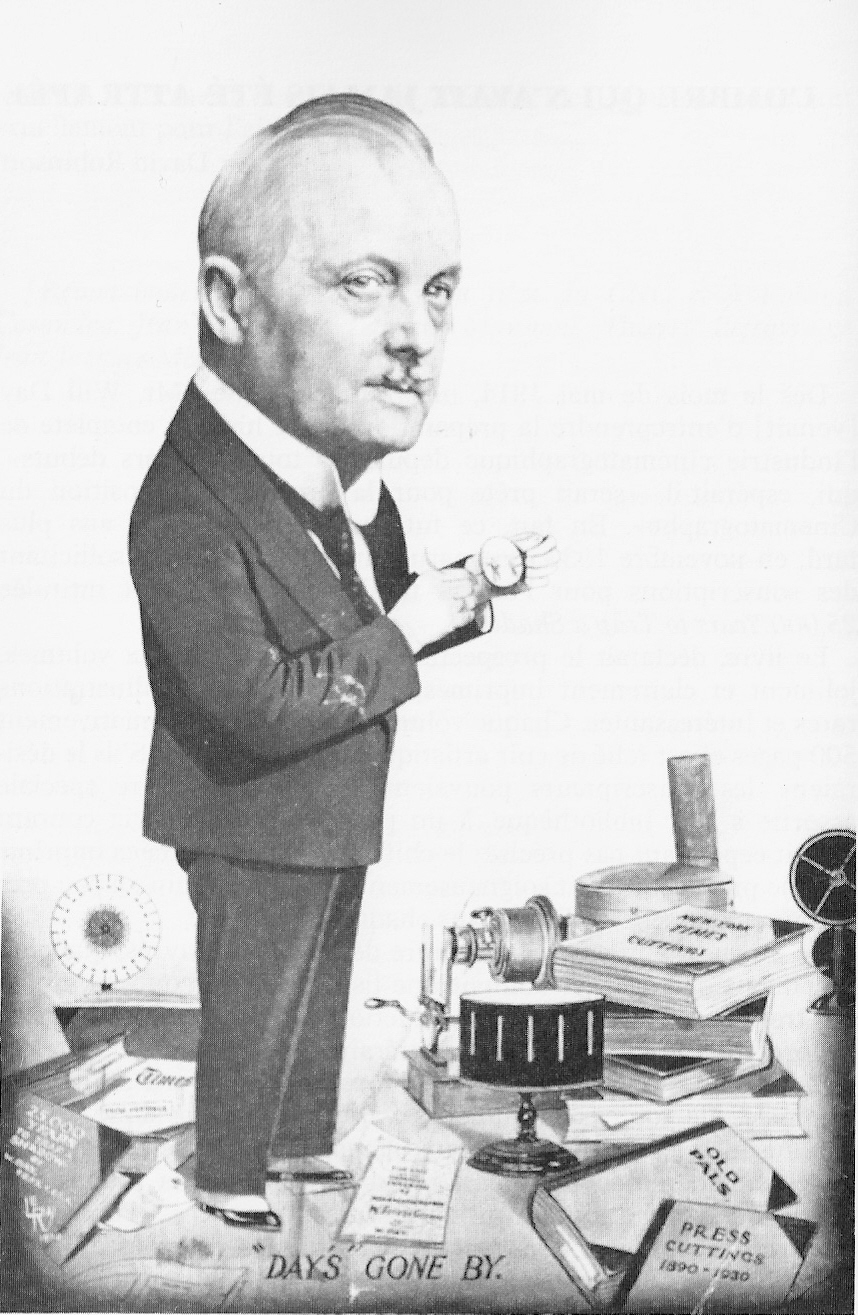 Will Day caricature with his collection
