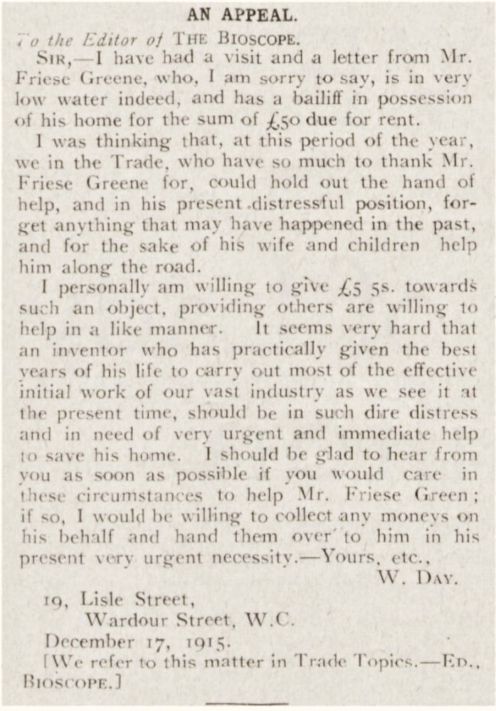 Will Day letter appealing for help for FG and family - The Bioscope - Thursday 23 December 1915 p71 edit