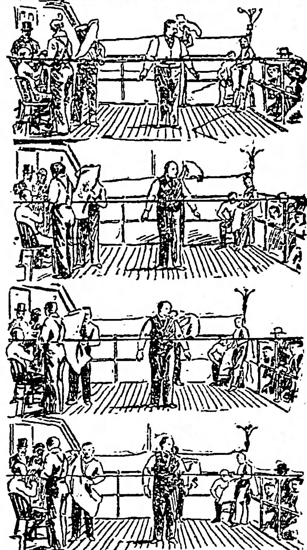 Sketches of series of frames of Griffo-Barnett fight Eidoloscope The_Brooklyn_Daily_Eagle_Wed__May_8__1895_ p4 cleaned